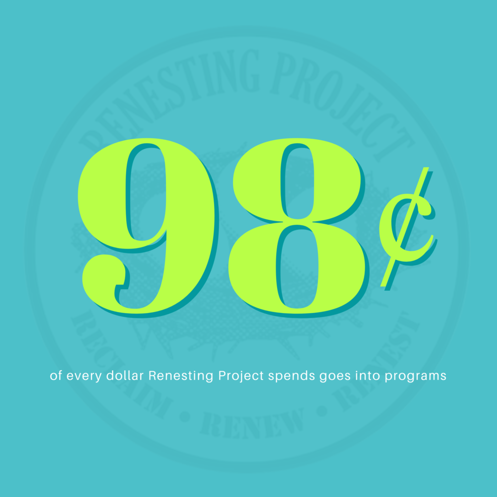 98 cents of every dollar Renesting Project spends goes into programs